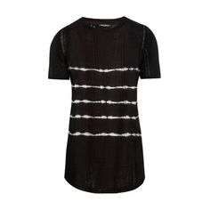 Balmain Tie-dye linen T-shirt ($325) ❤ liked on Polyvore featuring men's fashion, men's clothing, men's shirts, men's t-shirts, black, mens stripe shirts, balmain men's t shirt, mens tie dye shirts, mens linen t shirt and mens striped shirt