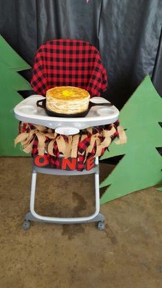 Lumberjack birthday  First birthday  Smash cake Plaid  Burlap  Pancakes  Flapjacks