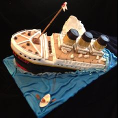 Side view of sinking titanic birthday cake by pamycakes