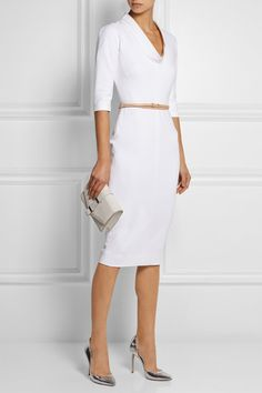 VICTORIA BECKHAM Belted stretch cotton-blend dress $2,350