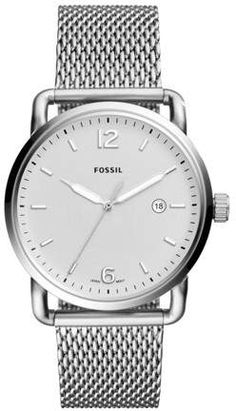 75929c03d56f Fossil The Commuter Three-Hand Date Stainless Steel Watch Jewelry Stainless  Steel Bracelet
