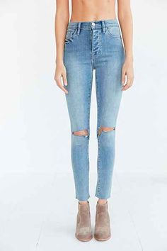 BDG Twig Crop High-Rise Skinny Jean - Light Blue Slash - Urban Outfitters