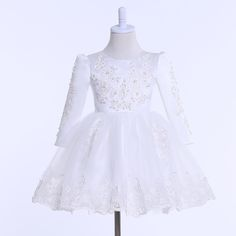 >> Click to Buy << Lovely Long Sleeve Flower Girl Dresses New Real Picture O Neck Lace Applqiues Pearls A Line Communion Dresses Kids Evening Gowns #Affiliate