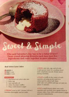Red Velvet Lava Cake (recipe by Curtis Stone) Red Velvet Desserts, Red Velvet Cake Mix, Valentine Desserts, Mini Desserts, Dessert Drinks, Dessert Recipes, Yummy Eats, Yummy Food, Lava Cake Recipes