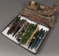 Lot 672: Bronze Inkwell & 15 Vintage Fountain Pens - Image 5