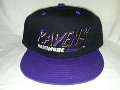 "New! NFL Baltimore Ravens Two Toned Snapback (Snap Back) Cap by NFL. $12.95. Black cap with purple bill. ""Ravens"" is largely embroidered on the front panel with ""Baltimore"" embroidered below. Ravens logo is nicely embroidered on the back of the cap. Black plastic snapback strap and green underbrim."