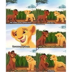 The Lion King II: Simba's Pride--Kovu and Kiara. I love the look on his face when she tells him her name. He's like a little boy who just found out he has a crush! So cute