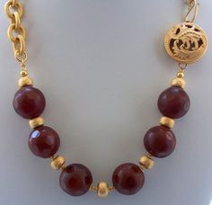 Carnelian Necklace Gemstone Necklace Chunky by ElsaWadesdesigns, $90.00