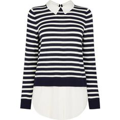 Stripe Shirt Sweater (165 BRL) ❤ liked on Polyvore featuring tops, sweaters, stripe shirt, blue striped sweater, blue sweater, blue top and striped sweater