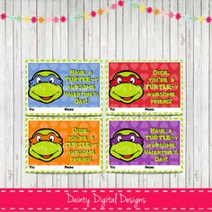 ninja turtles valentines day cards