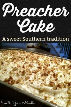 Preacher Cake Tender, moist cake recipe with crushed pineapple, pecans and coconut with a cream cheese frosting. An old Southern tradition to make this cake when the preacher comes by for a visit! Easy Desserts, Delicious Desserts, Yummy Food, Cake Mix Desserts, Cold Desserts, Desserts For A Crowd, Health Desserts, Recipes With Crushed Pineapple, Crushed Pineapple Cake
