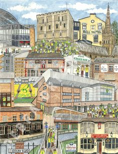 On the ball city! Celebrate not just Norwich's continued Premier League staus, but the wider grandeur of East Anglia's capital and No 1 club with this illustration by Debra Orton.
