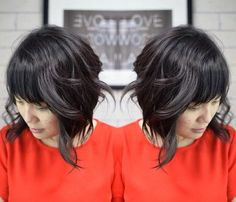 curly messy bob with bangs