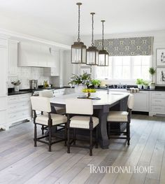 Pretty Kitchen in Quiet Colors | Traditional Home - http://www.traditionalhome.com/kitchens/pretty-kitchen-quiet-colors?page=3 - Roman Shade Idea