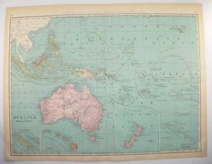 Oceania Map Polynesia Hawaii Map Malaysia Australia 1899 Large Map Pacific Ocean Islands, Vacation Travel Map, 1st Anniversary Gift Idea by OldMapsandPrints on Etsy