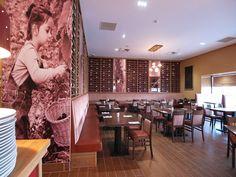 Great use of wall graphics at Cafe Eataliano pizzeria, Hamilton, Scotland