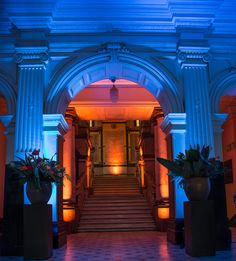 The dramatic entrance-way to Cape Town's City Hall made even more dramatic with the use of blue light. African Symbols, Earth Color, Entrance Ways, Cape, Traditional, Inspiration, Home Decor, Mantle, Biblical Inspiration