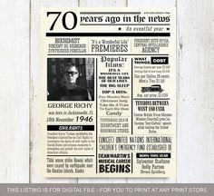 Fun facts 1946 70th birthday poster Custom 70th by LillyLaManch