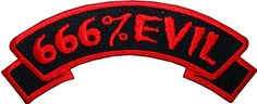 "[Single Count] Custom and Unique (5"" by 2"" Inches) Kreepsville Zombie Horror Badge ""666% Evil"" Banner Iron On Embroidered Applique Patch {Red and Black Colors} mySimple Products http://www.amazon.com/dp/B014QBIRP8/ref=cm_sw_r_pi_dp_8MTJwb0S5BBTG"