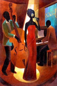 Your Source for Fine Black Art Prints and Posters by African American Artists, other Ethnic and Decorative Prints and and Posters at Everyday Discount Prices. Jazz Painting, Black Art Painting, Black Artwork, African American Artist, American Artists, Art Amour, Arte Black, Afrique Art, Jazz Art
