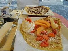 Crepe and Fruit breakfast in Nice, France. Far behind is Crepe with Nutella.