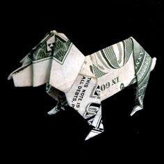 Money Origami DOG Made out of Real One Dollar Bill by trinket2shop on Etsy
