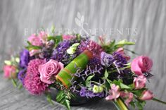 Large Center Piece Purple Centro de Mesa Largo Morados Rosas Lysianthus Roses