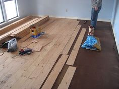 Hardwood floor from plywood. Good excuse to buy a table saw and still come out money ahead.