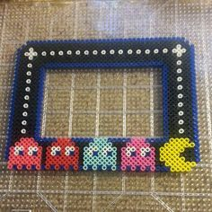 PacMan picture frame perler beads by happypurplecloud Perler Bead Designs, Perler Bead Templates, Hama Beads Design, Perler Beads, Perler Bead Art, Melty Bead Patterns, Hama Beads Patterns, Beading Patterns, Pixel Beads