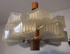 Mid Century 60´s Teak & Glass 16 Shades Ceiling Lamp #