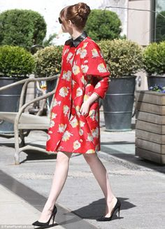 Emma Stone in Gucci Fall 2014 Leather Collar Black Dress UNDER Brock Collection Red Floral Coat, with Christian Louboutin So Kate Pumps in Black Suede. (April 28, 2014)