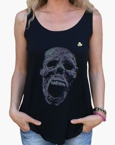 Camiseta Halloween · Zombie color Camiseta mujer tirantes anchos   Loose  Fit 19 d898c20794e9a