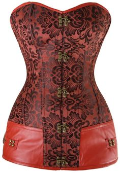 steampunk retro red floral gothic corset from selectafashion.com