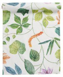 Klippan Viola Tischläufer 45x150 cm Plant Leaves, Curtains, Shower, Bomull, Fabric, Prints, Wool Blanket, Textiles, Rain Shower Heads