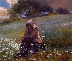 Winslow Homer >> Girl and Daisies | (Oil, artwork, reproduction, copy, painting).