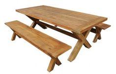 Draguignan Benches x 2      Teak wood – indoor/outdoor     1.4m L x 35cm W x 45cm H  Draguignan Table      Teak wood – indoor/outdoor     1.5m L x 90cm W x 74cm H