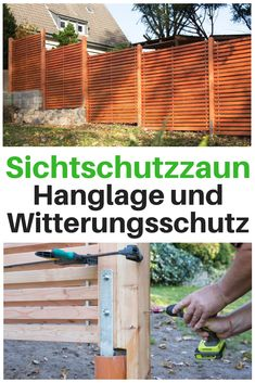 Build a privacy fence yourself self.de - A privacy fence to the neighbor is mandatory for everyone who appreciates their privacy. Tropical Houses, Tropical Garden, Backyard Dog Area, Pergola, The Neighbor, Garden Stepping Stones, Diy Fence, Beach Ready, Yard Landscaping