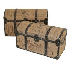 Love the design on these burlap covered trunks.