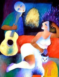 Roberto Chichorro, one of my favourites, I Afonso Naive, Pop Art, Neko, Cubist Paintings, Painting People, Abstract Portrait, Sketch Painting, Couple Art, Art Forms