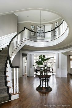 decorating ideas foyer with curved staircase Foyer Staircase, Double Staircase, Staircase Design, Staircase Ideas, Spiral Staircases, Grand Entryway, Entry Foyer, Grand Entrance, Grande Cage D'escalier