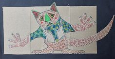 What do Bunyips look like? Drawing on cardboard with cardboard collage. Teacher example.