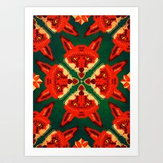 Fox Cross geometric pattern Art Print by Chobopop