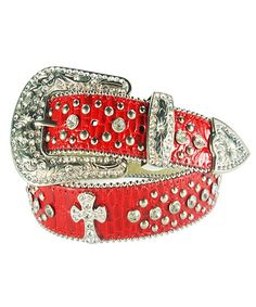 Look what I found on #zulily! Galaxy Belts Red & Silver Western Rhinestone Stud Leather Belt by Galaxy Belts #zulilyfinds