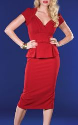 """""""Icon Dress"""" in red (shown) or black has a sweetheart neckline, gathered center front bust, pleated peplum with bow in center & below knee pencil skirt in stretch """"Millennium"""" fabric (whatever that is)  $166 from Stop Staring! Clothing"""