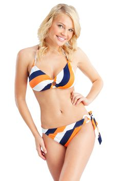 'Photo of an attractive young blonde woman posing in a white, blue and orange striped bikini, standing against a blue backdrop. Bayalage Brunette, How To Bayalage Hair, Blonde Hair, Blonde Aesthetic, Daily Exercise Routines, Honey Hair, Striped Bikini, Blonde Women, Trying To Lose Weight