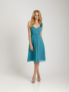 Chiffon Brides Wedding Bridesmaid Dresses With One-shoulder Accented With Ruffle