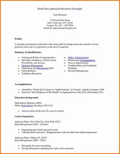 Resume For Medical Receptionist Medical Receptionist Resume Hotel Example Page Sample Resumes
