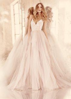 Hayley Paige blush low v neck tulle wedding dress 2016