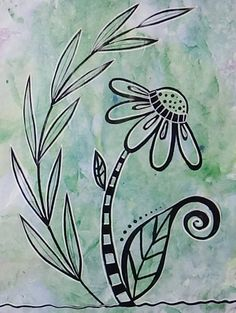Flower Doodle on Painted Paper https://www.youtube.com/user/BeCre8ive2 #Doodle #Doodling #FlowerDoodle #PaintedPaper