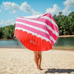 Monogrammed Round Beach Towels in 3 Colors